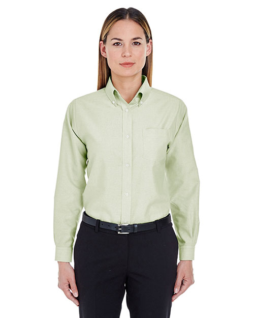 Ultraclub 8990    ® Ladies' Classic Wrinkle-Free Long-Sleeve Oxford  Lime at bigntallapparel