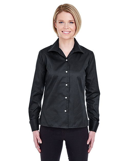 Ultraclub 8992    ® Ladies' Whisper Elite Twill Shirt  Black at bigntallapparel