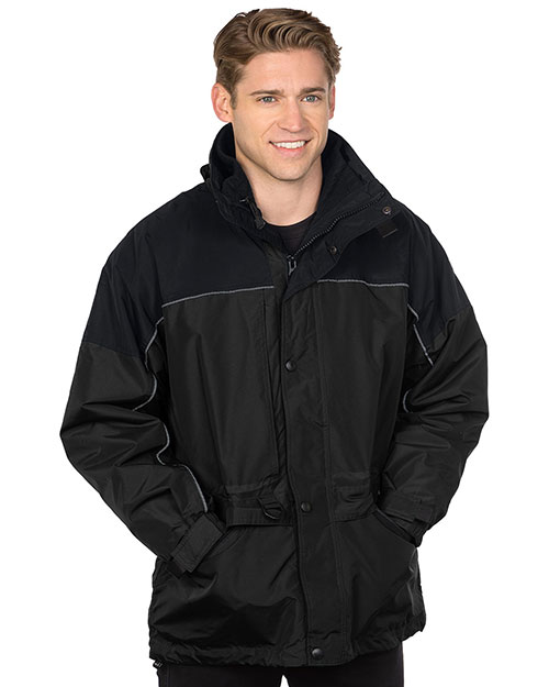 Tri-Mountain 9100  - Big and Tall Mens Nylon 3-In-1 Parka Jacket Black at bigntallapparel