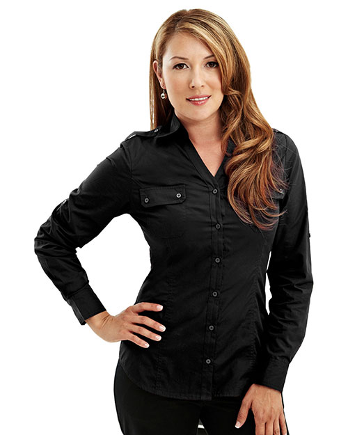 Tri-Mountain 919 Women Cotton/Poly 60/40 Woven Ls Shirt, W/ Epaulette Black at bigntallapparel