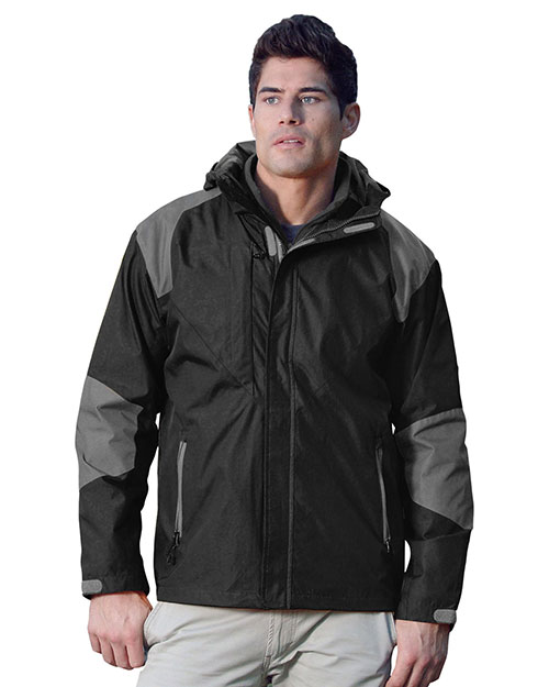 Tri-Mountain 9200 Mens 100% Nylon Water Resistant Woven Jacket, Full Lined w/ Hood. BLACK / CHARCOAL at bigntallapparel