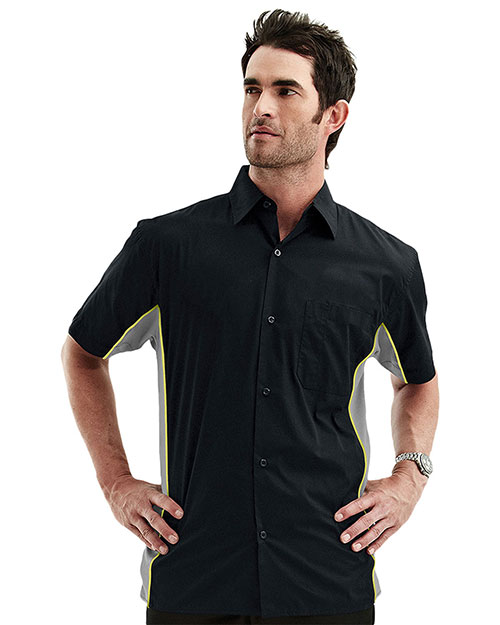 Tri-Mountain 926 Men's Cotton/Poly 60/40 TMR SS Woven Shirt, w/ Knitted Side Panel BLACK/CHARCOAL/LIME at bigntallapparel