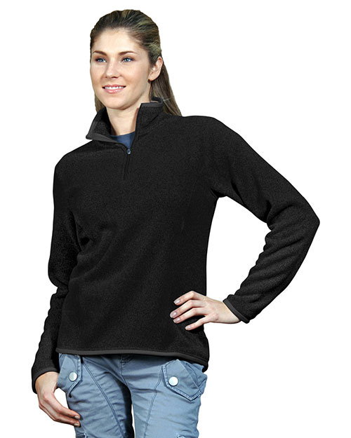 Tri-Mountain 932 Womens 100% Polyester 1/4 Zip Sweater Knit LS Fleece Shirt. BLACK at bigntallapparel