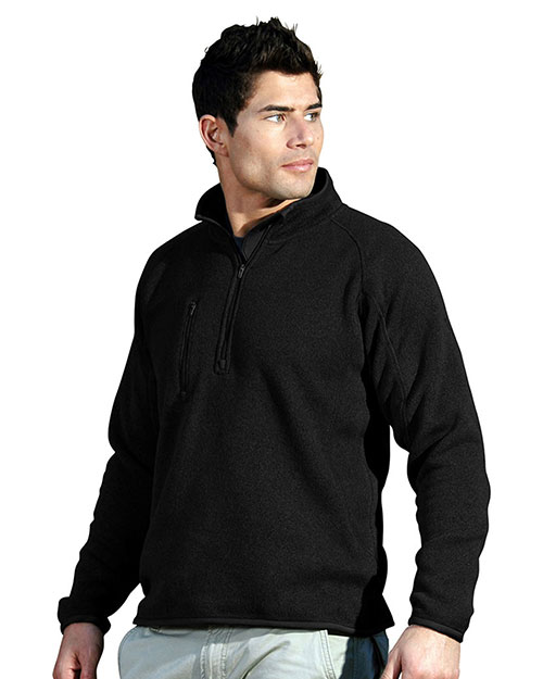 Tri-Mountain 935 Mens 100% Polyester 1/4 Zip Sweater Knit LS Fleece Shirt. BLACK at bigntallapparel