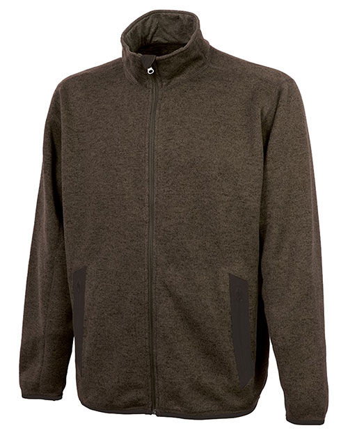 Charles River Apparel 9493 Men Heathered Fleece Jacket Brown Heather at bigntallapparel