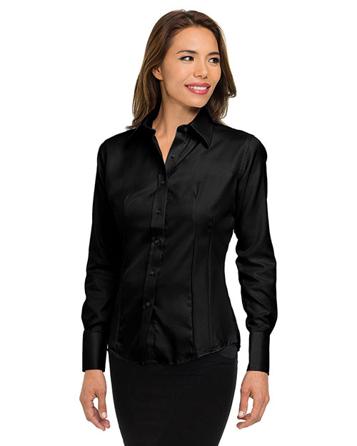 Tri-Mountain 972 Womens 100% cotton non-iron twill dress shirt. BLACK at bigntallapparel
