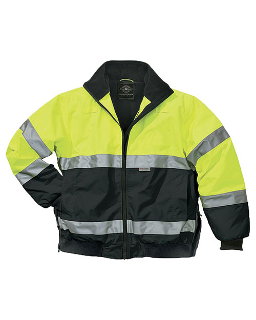 Charles River Apparel 9732 Men Signal Hivis Jacket Lime Green/Black at bigntallapparel