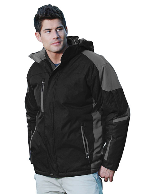 Tri-Mountain 9800 Men's 100% Nylon Water Resistant Full Lined & Quilted w/ Removable Hood Woven Ja BLACK / CHARCOAL / CHARCOAL at bigntallapparel