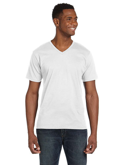 Anvil 982 4.5 oz. Soft Spun Fashion Fit V-Neck T-Shirt WHITE at bigntallapparel