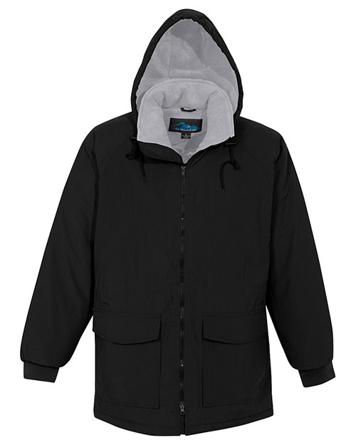 Tri-Mountain 9900 Men Big And Tall Nylon Hooded Parka Jacket With Fleece Lining Black/Gray at bigntallapparel
