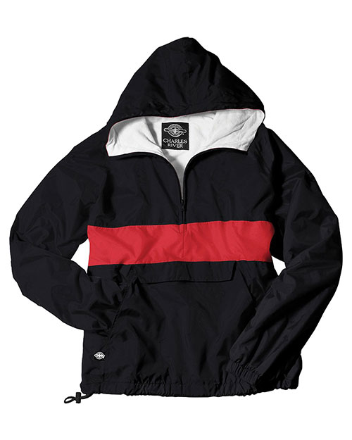 Charles River Apparel 9908  Classic Charles  Striped Pullover Black/Red at bigntallapparel