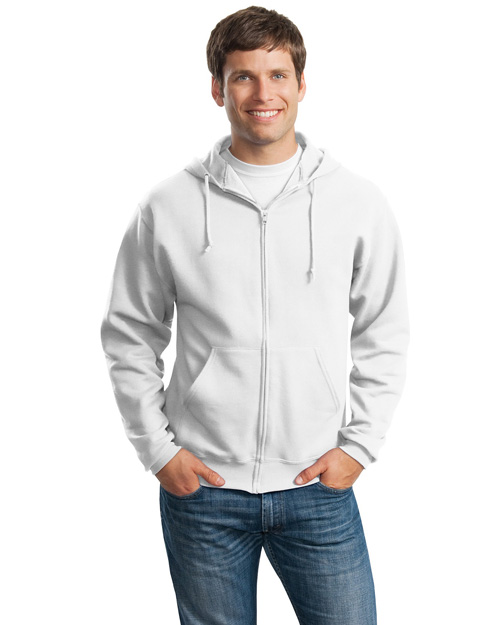 Jerzees 993M Men Full Zip Sweatshirt Hoodie White at bigntallapparel