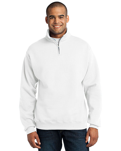 Jerzees 995M 1/4-Zip Cadet Collar Sweatshirt.  White at bigntallapparel