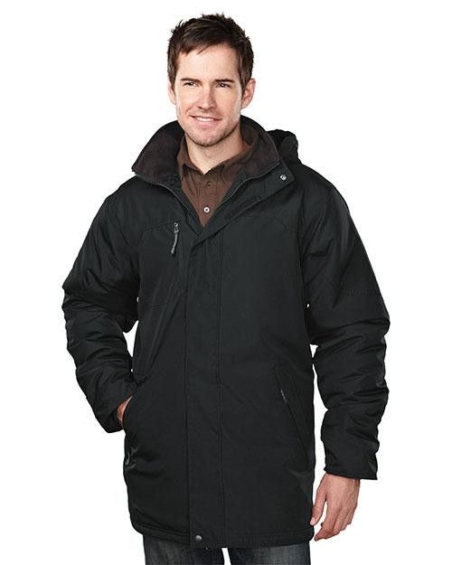 Tri-Mountain 9980 Men's 100% Polyester  long sleeve jacket  with water resistent BLACK/BLACK at bigntallapparel