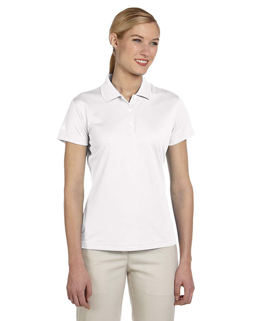 Adidas A131 Women Climalite Pique Short-Sleeve Polo White at bigntallapparel