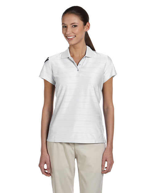 Adidas A135ALP Ladies' ClimaCool® Mesh Polo WHITE/BLACK at bigntallapparel