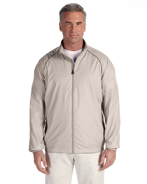 Adidas A169 Men 3-Stripes Full-Zip Jacket Ecru at bigntallapparel