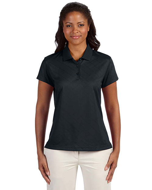 Adidas A181 Ladies' ClimaCool® Diagonal Textured Polo BLACK at bigntallapparel