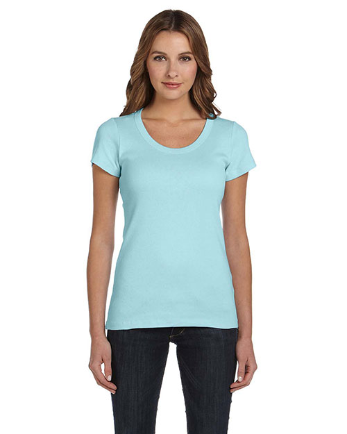Bella B1003 Ladies' Baby Rib Short-Sleeve Scoop Neck T-Shirt LIGHT AQUA at bigntallapparel