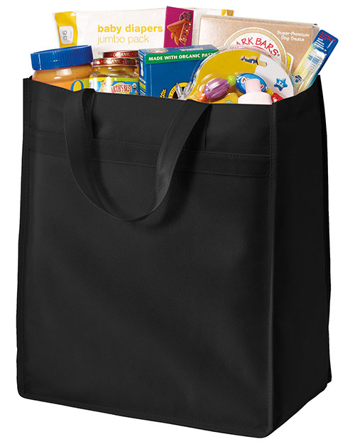 Port Authority B159 Standard Polypropylene Grocery Tote.  Black at bigntallapparel