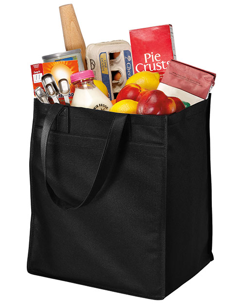 Port & Company B160  Extra-Wide Polypropylene Grocery Tote Black at bigntallapparel