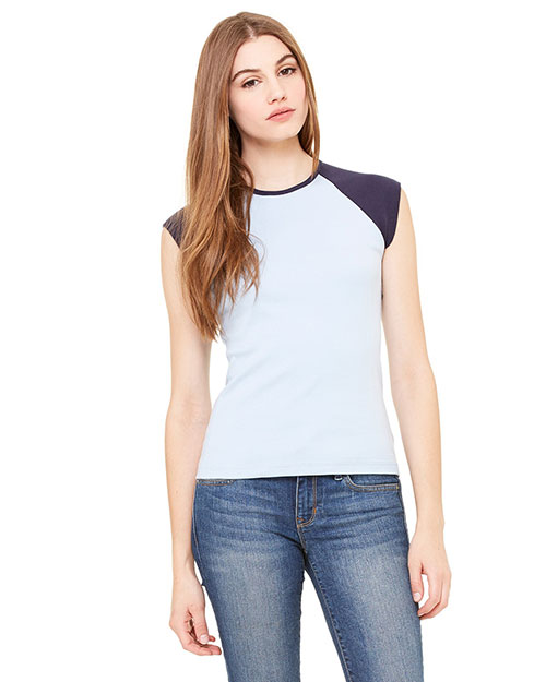 Bella B2020 Ladies' Baby Rib Cap-Sleeve Contrast Raglan T-Shirt BABY BLUE/NAVY at bigntallapparel