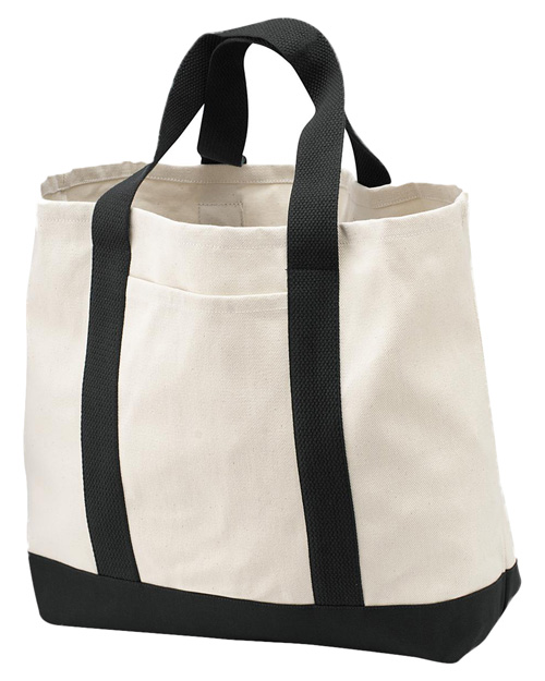 Port & Company B400 2-Tone Shopping Tote Natural/Black at bigntallapparel