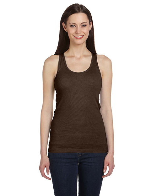 Bella B4070 Ladies' 2x1 Rib Racerback Longer Length Tank CHOCOLATE at bigntallapparel