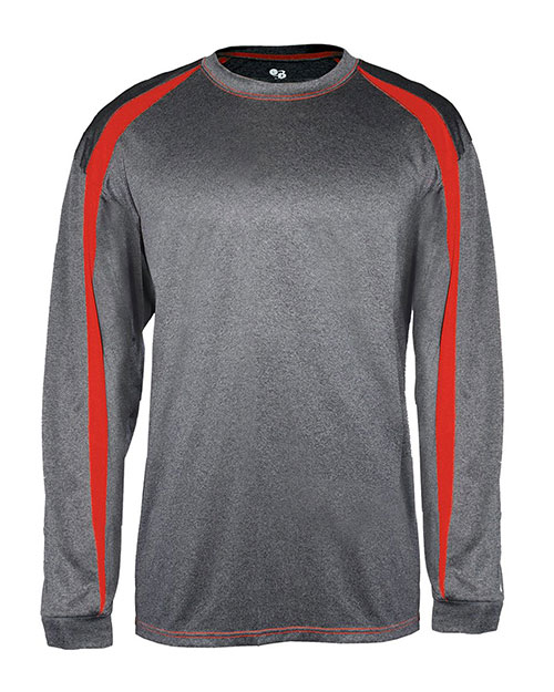 Badger B4350     Adult Fusion Long Sleeve Athletic Tee.  Carbon/ Red at bigntallapparel