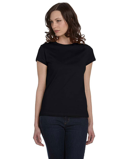 Bella B6020 Ladies' Organic Jersey Short-Sleeve T-Shirt BLACK at bigntallapparel