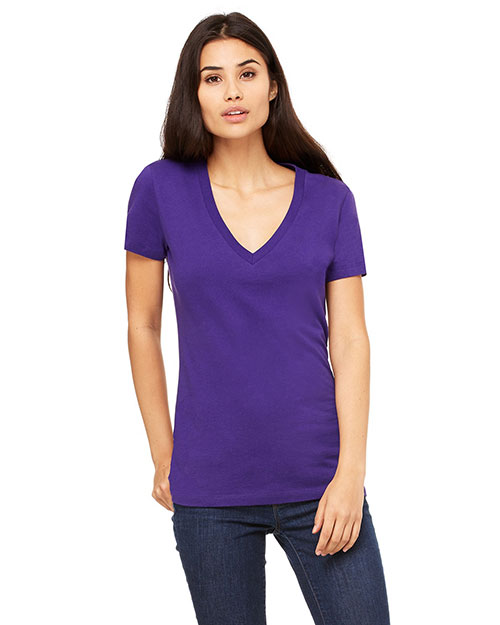 Bella B6035 Ladies' Jersey Short-Sleeve Deep V-Neck T-Shirt TEAM PURPLE at bigntallapparel