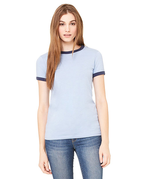 Bella B6050 Ladies' Jersey Short-Sleeve Ringer T-Shirt HTHR BLUE/NAVY at bigntallapparel