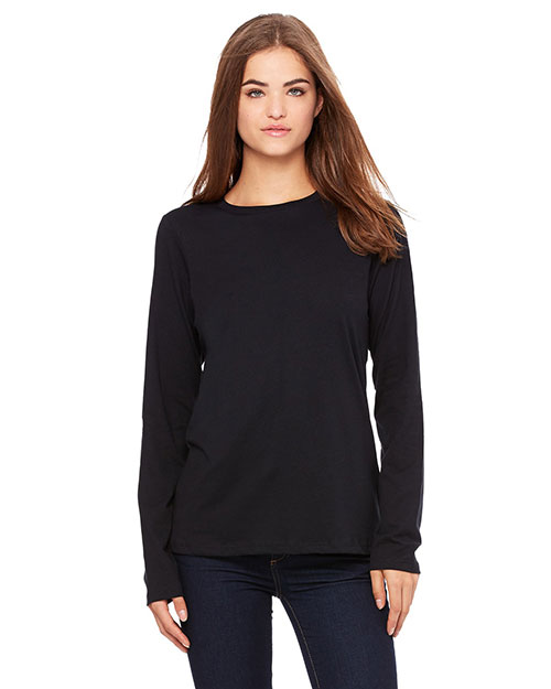Bella B6450 Missy Jersey Long-Sleeve T-Shirt BLACK at bigntallapparel