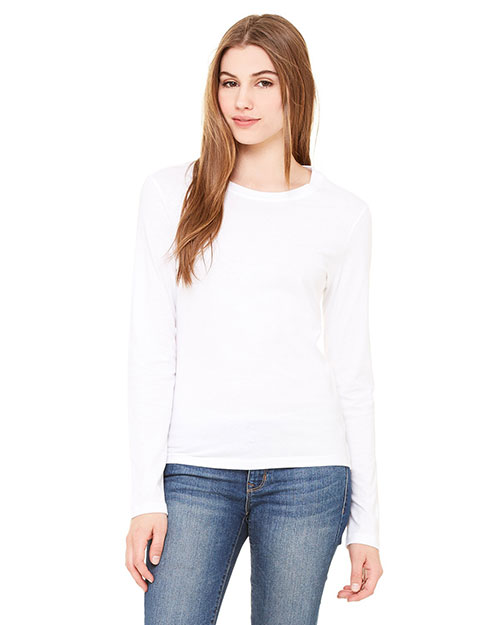 Bella B6500 Ladies' Jersey Long-Sleeve T-Shirt WHITE at bigntallapparel
