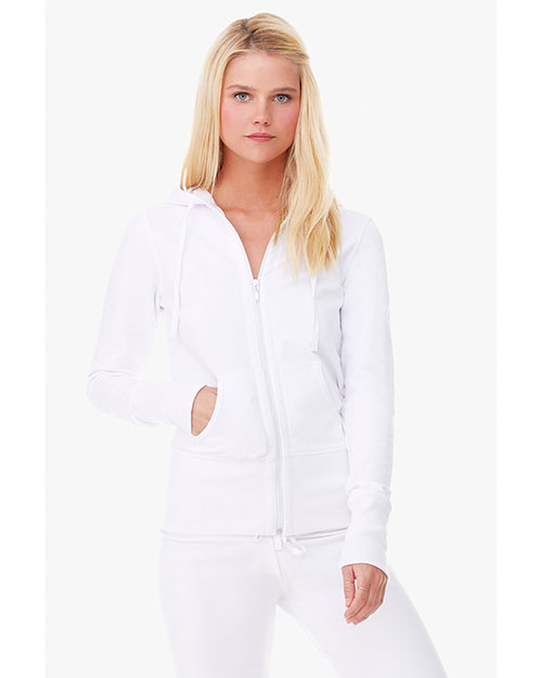 Bella B7207 Ladies' Stretch French Terry Lounge Jacket WHITE at bigntallapparel