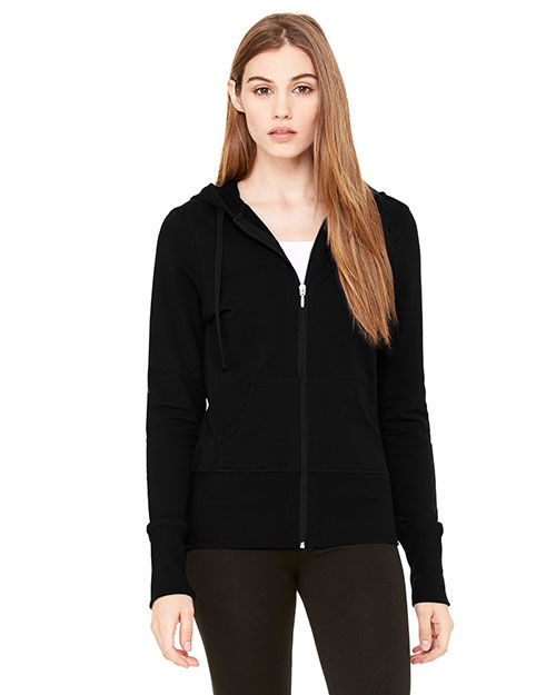Bella B7207 Ladies' Stretch French Terry Lounge Jacket BLACK at bigntallapparel