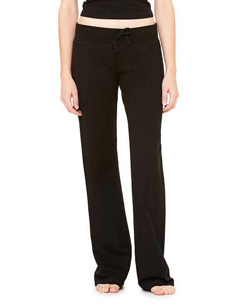 Bella B7217 Ladies' Stretch French Terry Lounge Pant BLACK at bigntallapparel