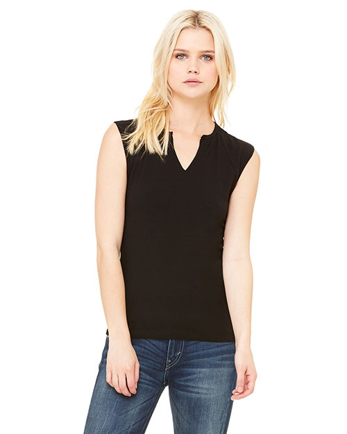 Bella B820 Women Cotton/Spandex Slit-V Raglan T-Shirt Black at bigntallapparel