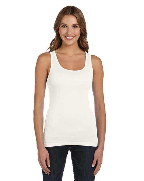 Bella B8780 Ladies' Sheer Mini Rib Tank CREAM at bigntallapparel