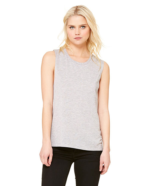Bella B8803 Women Flowy Scoop Muscle T-Shirt Athletic Heather at bigntallapparel