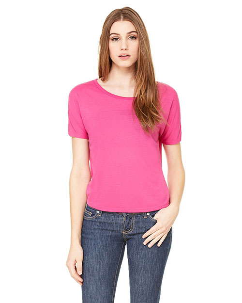 Bella B8871 Women Flowy Open Back T-Shirt Berry at bigntallapparel