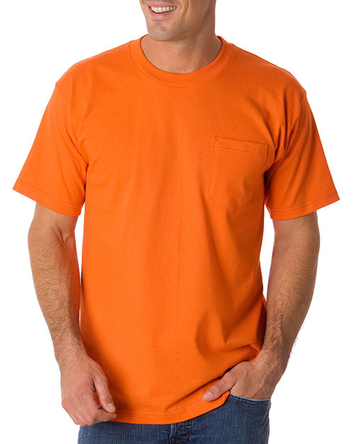 Bayside 1725 Men 50/50 Pocket Tee Bright Orange at bigntallapparel