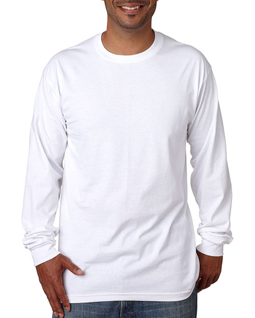 Bayside 5060     Adult Long-Sleeve Cotton Tee  White at bigntallapparel