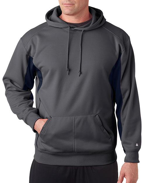 Badger 1465     Drive Poly Performance Fleece Hood  Graphite/Navy at bigntallapparel