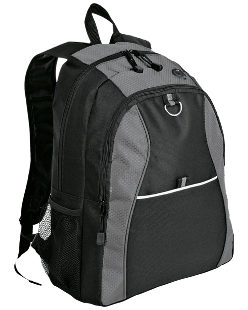 Port & Company BG1020 NEW ® - Contrast Honeycomb Backpack.  Grey/Black at bigntallapparel