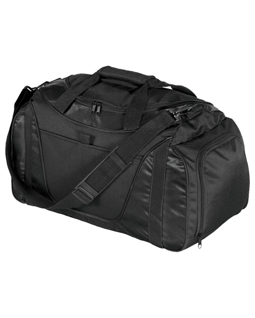 Port & Company BG1040  New   Twotone Small Duffel Black/Black at bigntallapparel