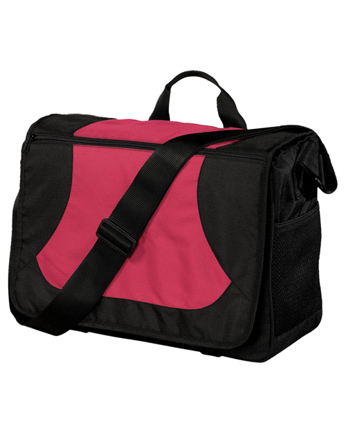 Port Authority BG78 Midcity Messenger Cardinal/Black at bigntallapparel