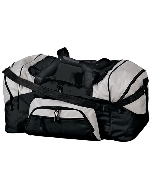 Port & Company BG99 Color Block Sport Duffel Bag Black/Grey at bigntallapparel