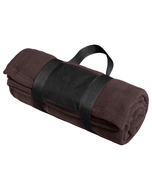 Port Authority BP20 Fleece Blanket with Carrying Strap.  Dark Chocolate Brown at bigntallapparel