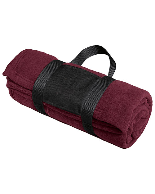 Port Authority BP20 Fleece Blanket with Carrying Strap.  Maroon at bigntallapparel